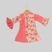 Peach And Pink Corduroy A-Line Frock