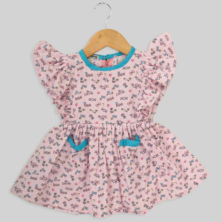 Pink Corduroy Skater Frock For Girls