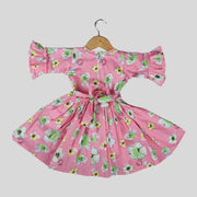 Pink Cotton Casual Frock For Girls with Floral Print