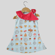 Blue and Peach A-Line Cotton Frock For Girls With Food Print