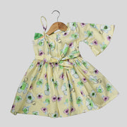 Yellow Cotton Skater Frock For Girls with Floral Print
