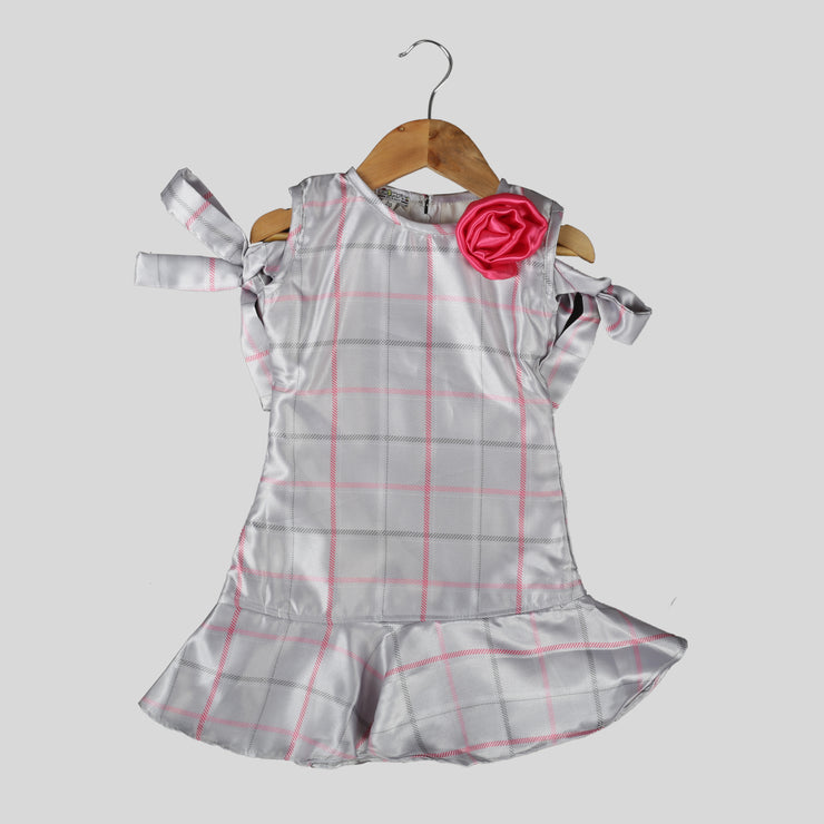 Silver Satin A-Line Frock For Girls with Pink Bow