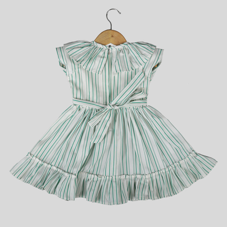 White And Green Cotton Skater Frock For Girls With A Bow
