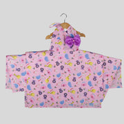 Pink Cotton Spaghetti Skater Frock For Girls With Zoo Print