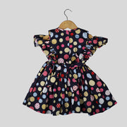 Black Cotton Skater Frock For Girls With Multicoloured Polka Dots