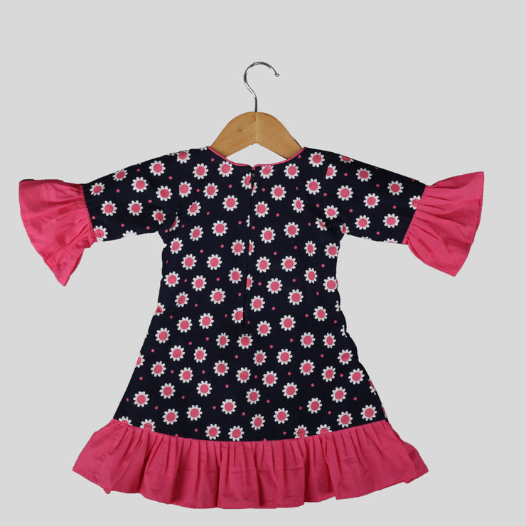 Black and Pink Corduroy A-Line Frock for girls With Peter Pan Collar
