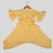 Yellow Cotton Jumpsuit For Girls with Embroidered Cactus Motif