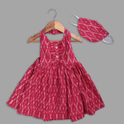 Red Cotton Dress with Mask