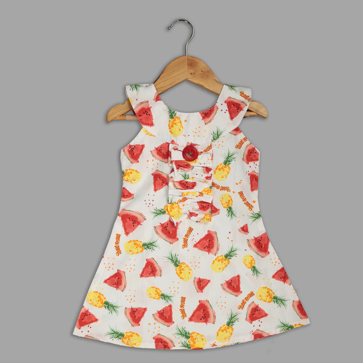 White Cotton Frock with Fruit Print