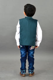 Smart Blue Cotton Waist Coat
