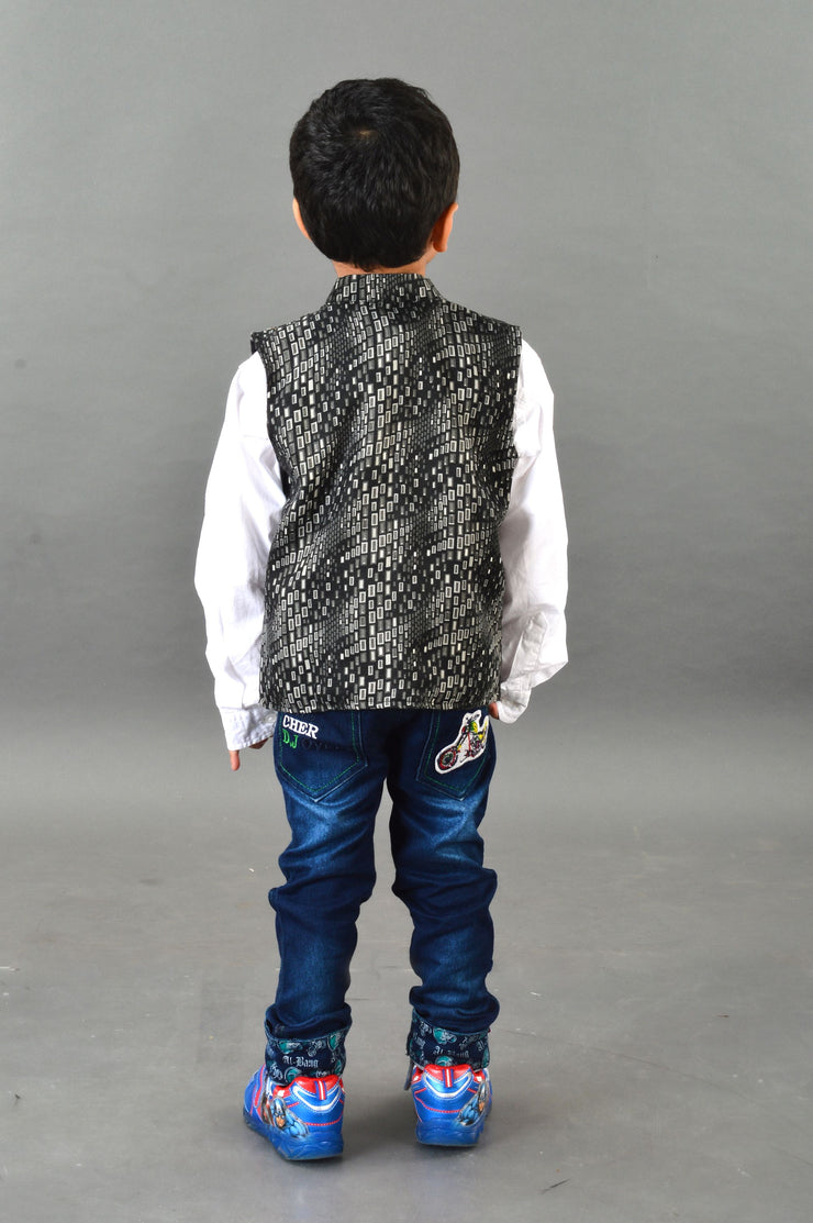 Abstract Print Black Waistcoat For Boys