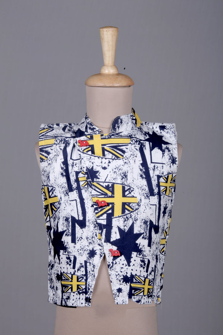 White Cotton Waistcoat with Abstract Print