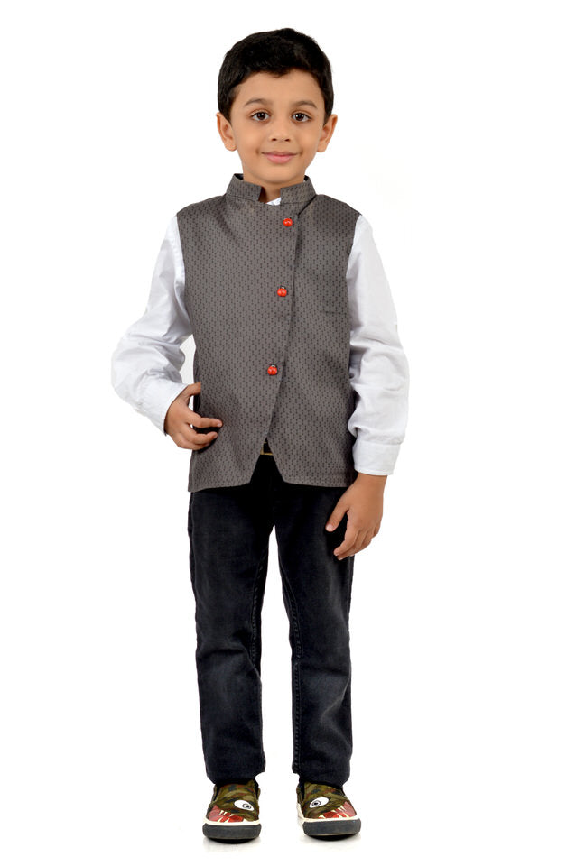 Grey Waistcoat with Bright Red Buttons