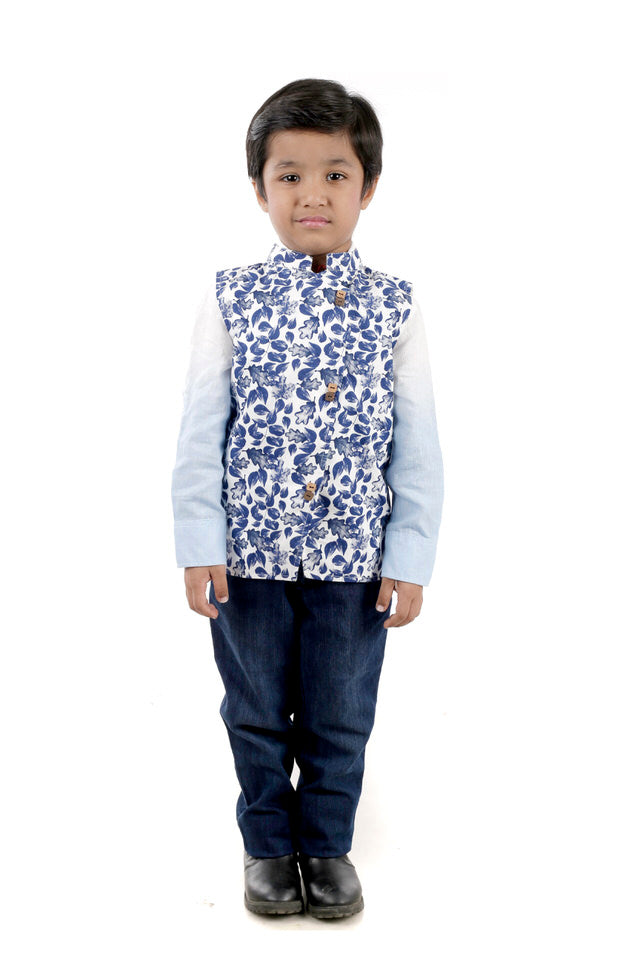 White Cotton Waistcoat with Blue Leafy Print