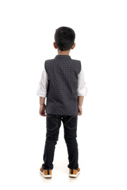 Slate Grey Cotton-Linen Waistcoat with Mandarin Collar and Steam Engine Motif