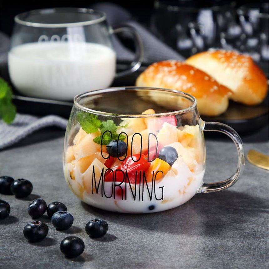 "Taza transparente ""Good morning"""