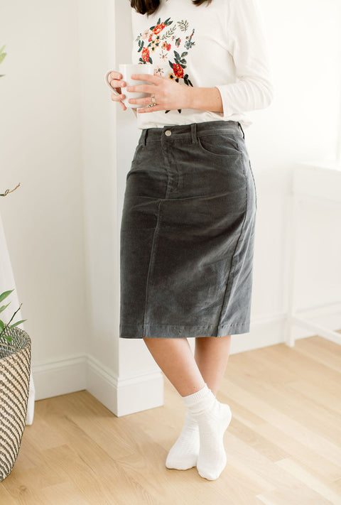 'Ember' Corduroy Skirt in Charcoal