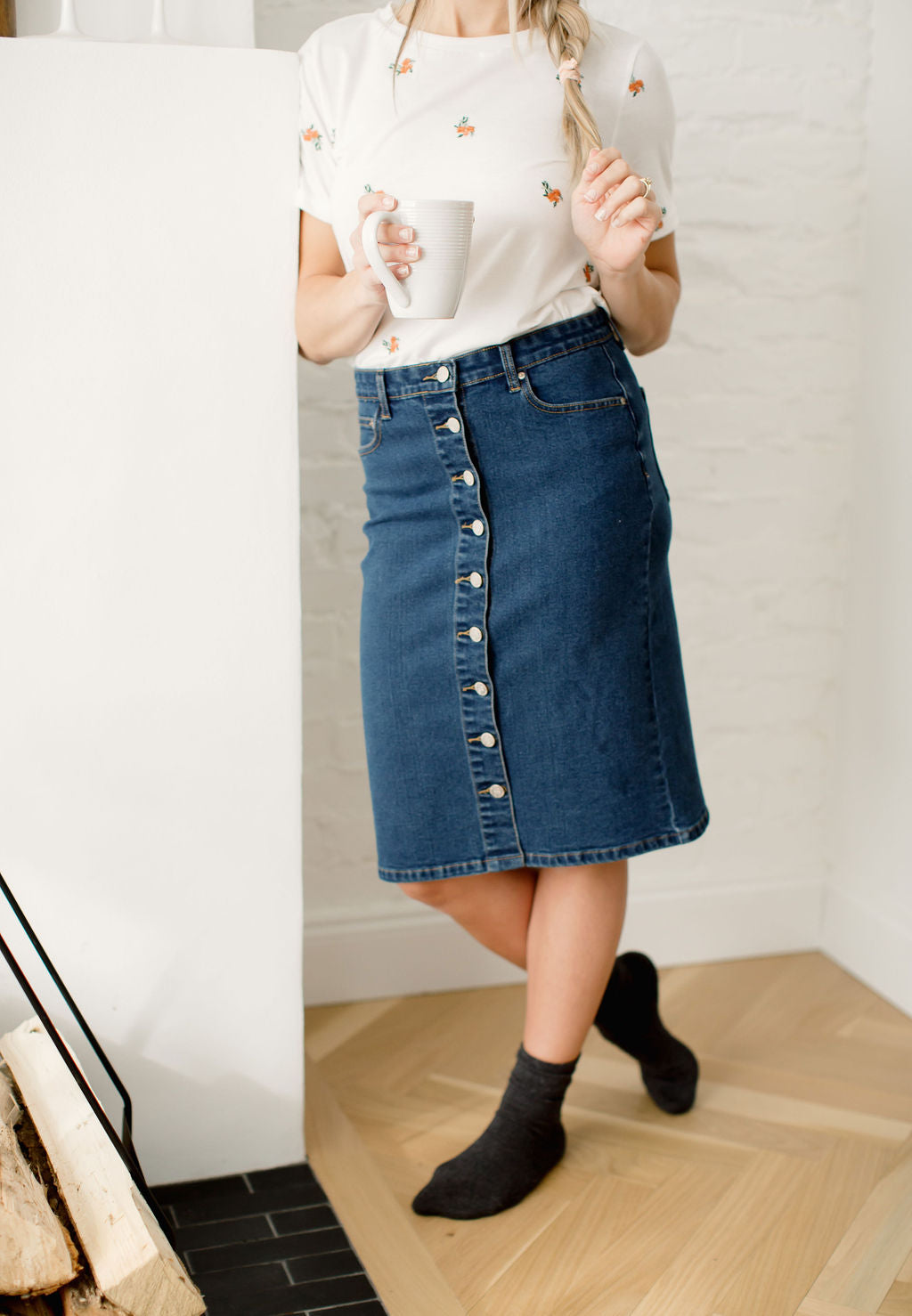 'Margot' Button Down Denim Skirt