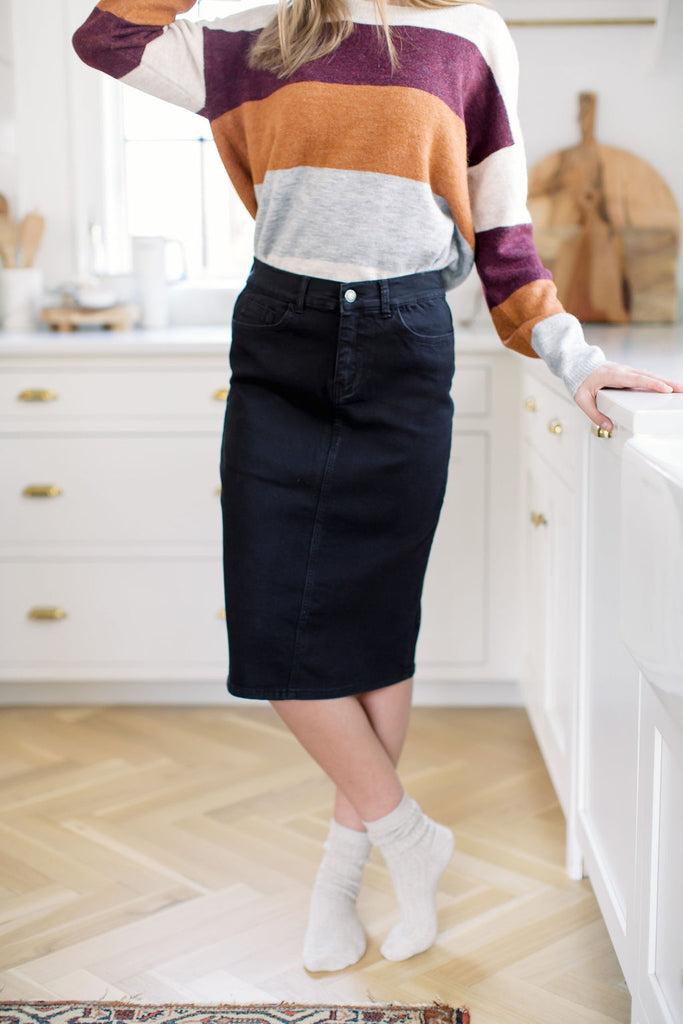 'Leah' Denim Skirt in Black