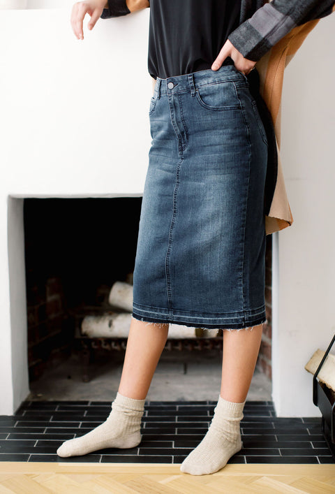 'Adeline' Knee Length Denim Skirt