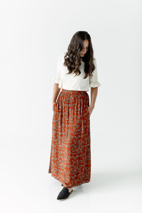 'Autumn' Floral Maxi Skirt in Rust