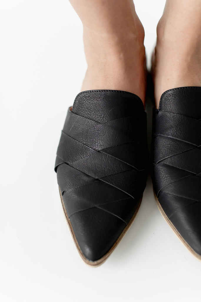 Woven Mules in Black