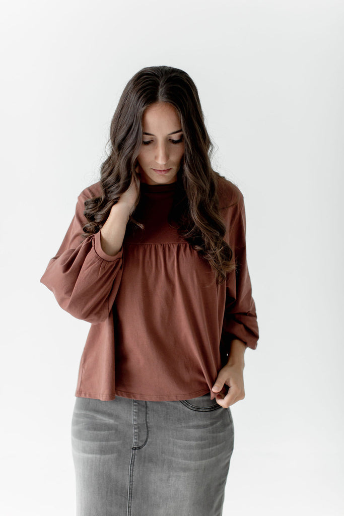 Cropped Bell Sleeve Top in Spice
