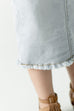 'Sara' Girl Classic Knee Length Light Denim Skirt