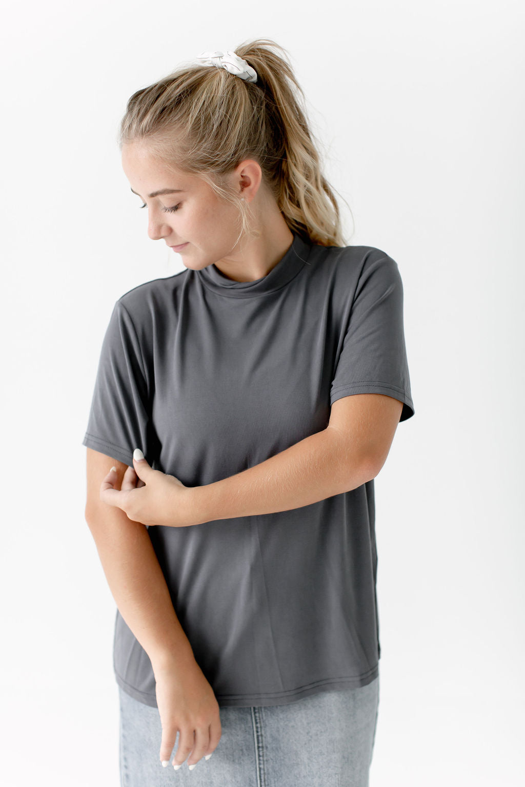 Mock Neck Tee in Charcoal