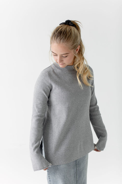 Mock Neck Sweater in Stone Gray