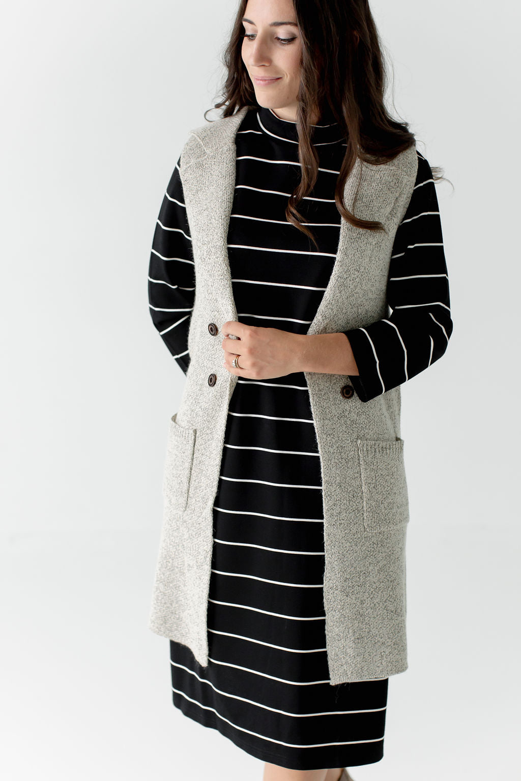 Woven Duster Vest in Taupe