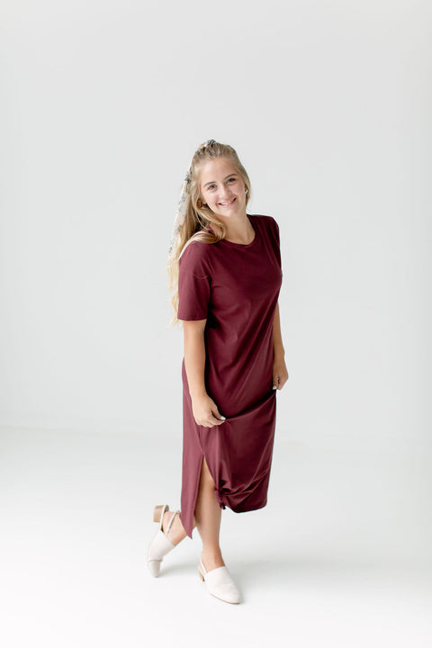 'Mariah' Dress in Sangria