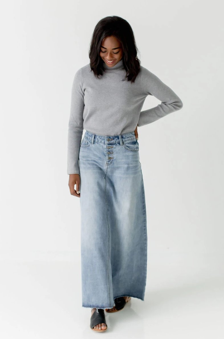 'Haven' Long Denim Skirt
