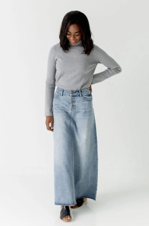'Haven' Long Denim Skirt in Light Wash