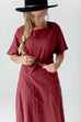 'Quinn' Tie-Front Dress in Maroon
