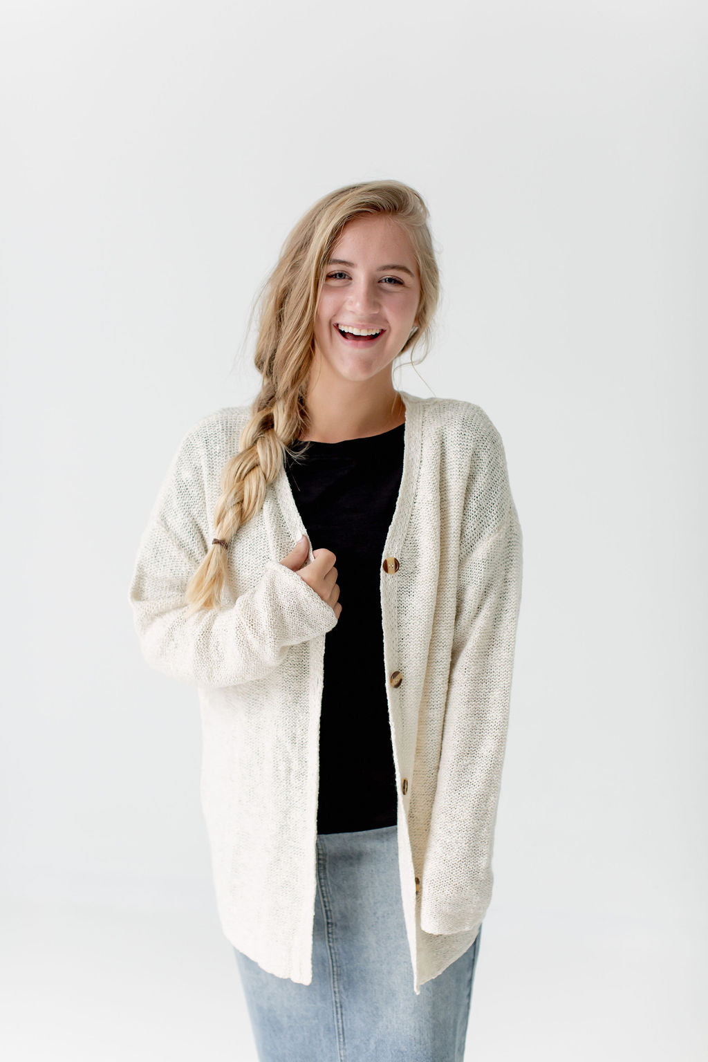 Button Down Knit Cardigan in Ivory