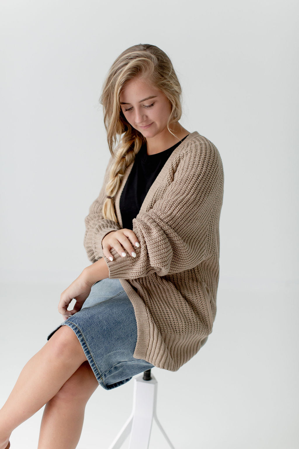 Oversized Cardigan in Khaki