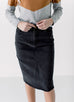 'Hadley' Denim High Waisted Skirt in Black