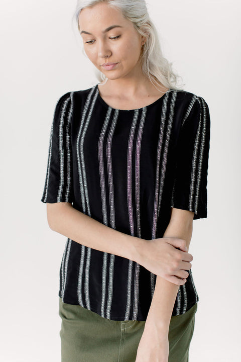 Textured Half Sleeve Striped Top