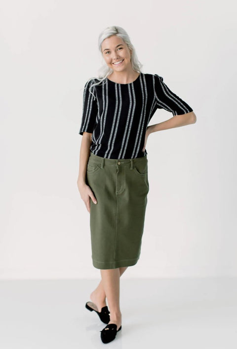'Leah' Denim Skirt in Olive