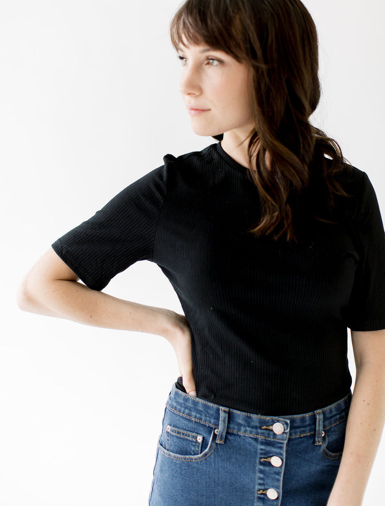 Crew Neck Ribbed Bodysuit in Black