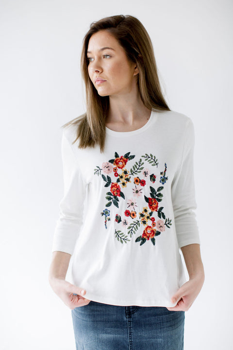 Embroidery Detail 3/4 Sleeve Top in Ivory