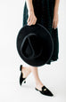 Flat Brim Wool Fedora Hat in Black