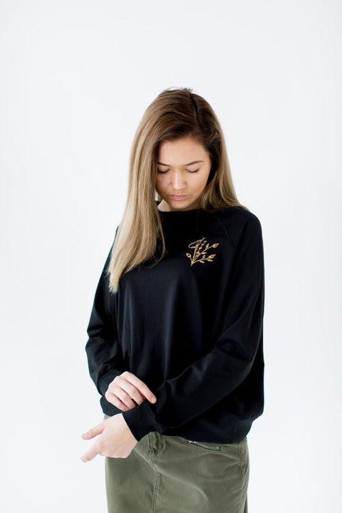Golden Flower Embroidery Top