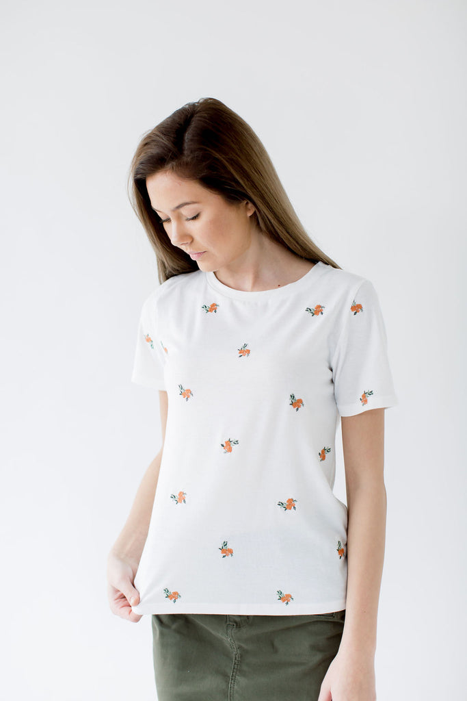 Floral Embroidered Tee in Ivory