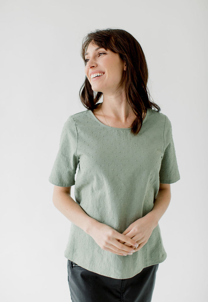 Woven Polka Dot Top in Dusty Sage