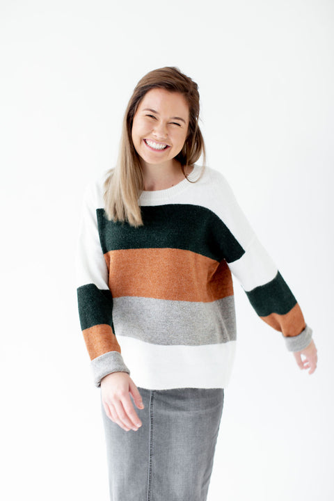 Colorblock Sweater in Hunter Green Stripe
