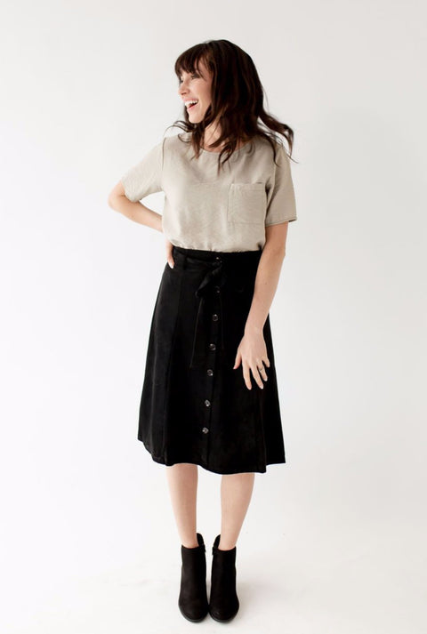 'Amelia' Tie Waist Skirt in Black