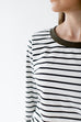 'Addison' Top in Black/Ivory Stripe