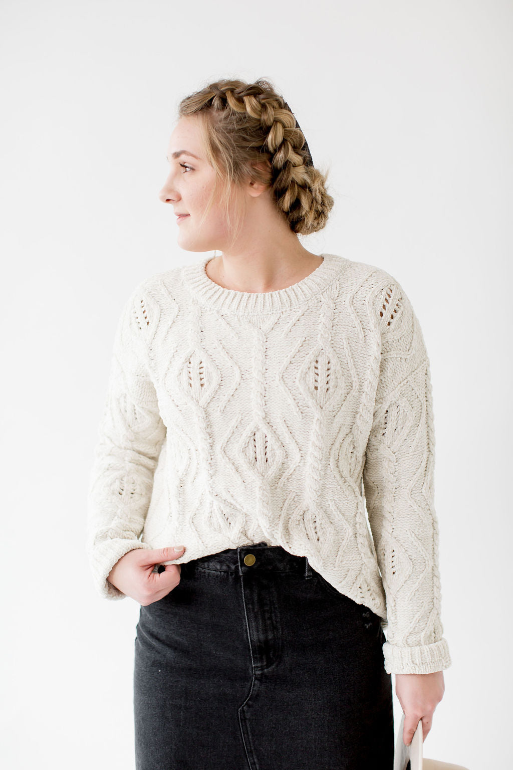 Chenille Cable Knit Sweater in Ivory